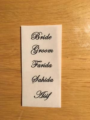 Personalised Clear Wedding Favour Stickers 1cm in height 48mm wide