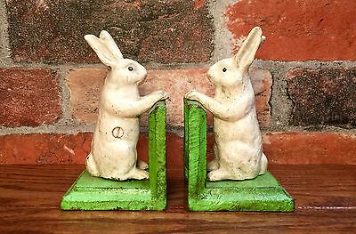 Cast Iron Pair of White Bunny Rabbit Vintage Bookends