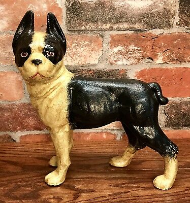 Cast Iron Left-Facing Boston Terrier Dog Vintage Door Stop