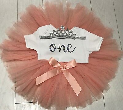 Baby Girls First 1st Birthday Outfit Tutu Skirt Set Blush Silver Cake Smash Top
