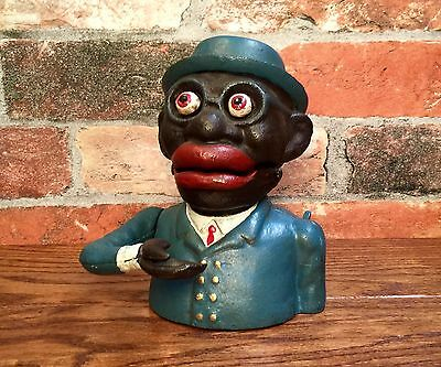 Cast Iron Black Americana Business Man Vintage Mechanical Coin Bank