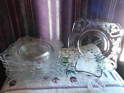 """LOT OF 9 RARE CAMBRIDGE  ETCHED CRYSTAL LUNCHEON 8"""" GLASS PLATES  never used"""