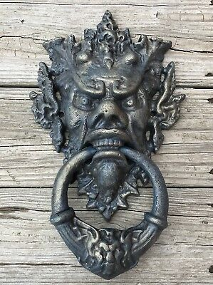 Cast Iron Gothic Blue Devil Vintage Door Knocker