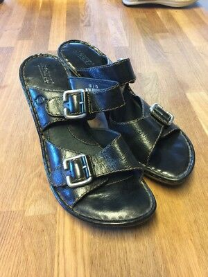 7b58acee9e83 BORN W31111 Black Leather Buckle Wedge Slide Sandals Women s Size 10 42 GUC