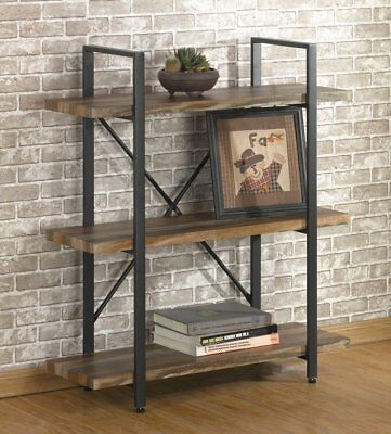 Industrial Rustic Wood Bookcase 3 Shelf Vintage Furniture Metal Bookshelf NEW