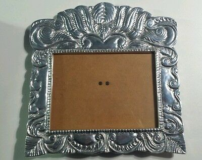 Pewter Picture Photo Frame Silver Large Heavy Mexico Ann Kary Photograph Shiny