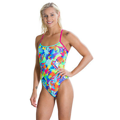 Speedo Female Flipturns Spectrum Splash Digital Single Crossback Swimsuit