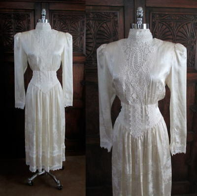 Vintage 80's Gunne Sax Victorian Lace Silk Tea Dress M