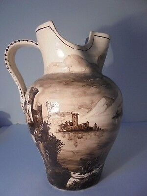 Vintage Italian Art Pottery Hand Painted Castles Large Stoneware Pitcher Italy