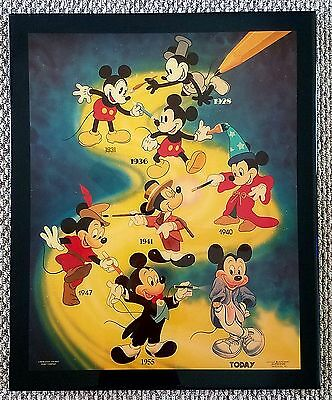 Vintage DISNEY MICKEY Mouse 1928-TODAY Acrylic Wood Wall ART VERY RARE