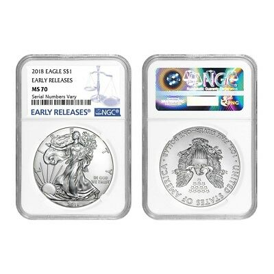 Lot of 2 - 2018 1 oz Silver American Eagle $1 Coin NGC MS 70 Early Releases