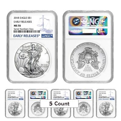 Lot of 5 - 2018 1 oz Silver American Eagle $1 Coin NGC MS 70 Early Releases