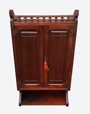 Eastlake Victorian Cherry Stick & Ball Gallery Raised Panel Antique Wall Cabinet