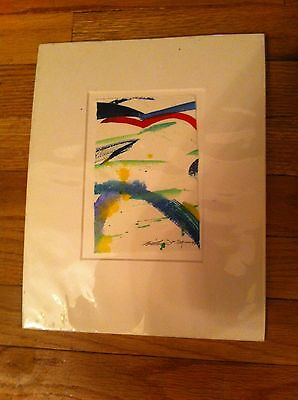 BIRD IN FLIGHT MEETS WITH GOOD FORTUNE Signed/Matted/Numbered Painting  Colorful