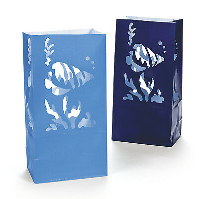 12 Under the Sea Luminary Paper Bags Table Decorations Fish Birthday Party Event