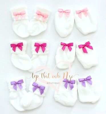 Set of 3 Newborn Baby Girl scratch guard mittens Infant girl pink bow socks set