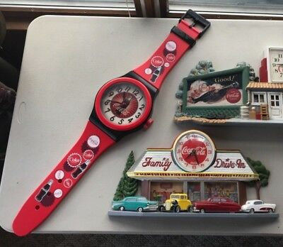CHOOSE FROM 3 Coca Cola Wall Clocks Wrist Watch Diner Garage Classics