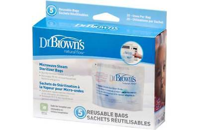 Dr. Brown's Natural Flow Microwave Steam Sterilizer Bags Two 5 Packs 20 uses/bag