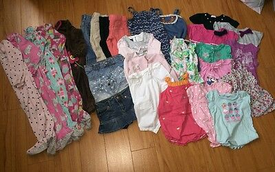 28 pc Used Mixed lot of toddler girls clothes SZ 2T/24 Months Baby Gap, Carters,