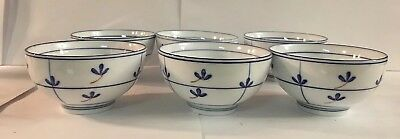 """Chinese Soup/rice Bowls Rice Set Of 6 Bowls White And Blue 4.5"""""""