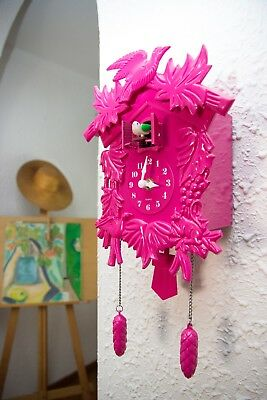Pink Cuckoo Clock DIY Art Home Office Restaurant Cafe Kitchen Decoration UK