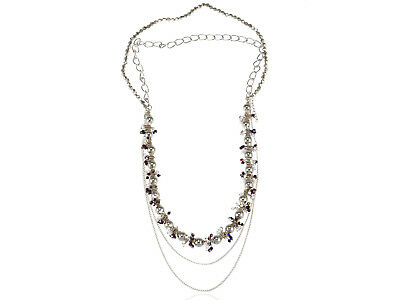 Silver Tone Purple Faux Pearl Beaded Chain Fashionable Layering Choker Necklace