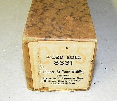 Vintage QRS Player Piano Word Roll I'll Dance At Your Wedding 8331 Fox Trot RARE