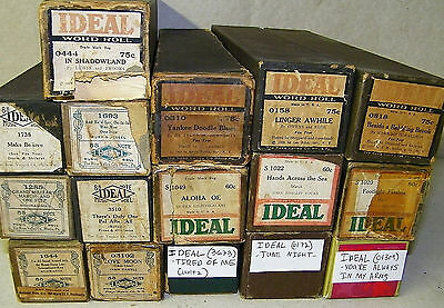 Vintage Ideal Player Piano Word Roll Lot 16 Yankee Doodle Blues Aloha more . . .