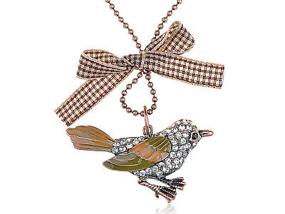 Adorable Cute Clear Crystal Rhinestone Curious Robin Bird Pendant Necklace Gift