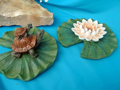 TURTLE WITH BABY ON BACK AND ONE PINK WATER LILY POND OR POOL FLOATERS Set of 2