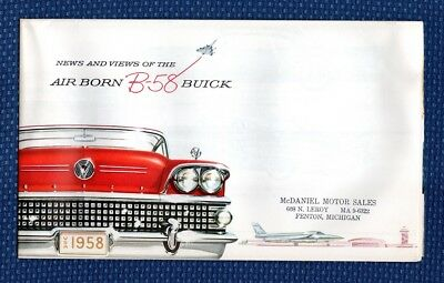 1958 BUICK Automobile Sales Brochure Poster - EXCELLENT NEW OLD STOCK - Michigan
