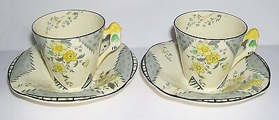 Burleigh Ware - Art Deco Imperial Shape - Two Cups and Two Saucers -Collectable.