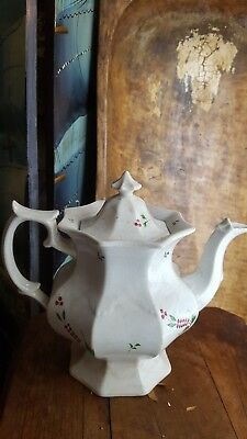19th c. Antique George Pearl Wild Berries Octagonal Ironstone Teapot