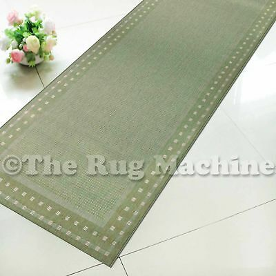 SUMMER INDOOR/OUTDOOR BORDER GREEN MODERN RUG RUNNER 67cm WIDE **ANY LENGTH**