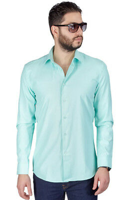 Mint Green Slim Fit Men's Dress Shirt Solid Color Long Sleeve Spread Collar Azar