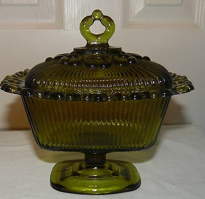 1960's Vintage Olive Green Indiana Glass Footed Ribbed Candy Box Filigree Edge