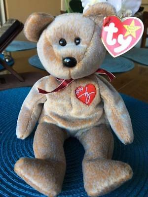"""1999 SIGNATURE""  Bear - Ty Beanie Baby - VERY RARE - TAG ERROR - RETIRED"