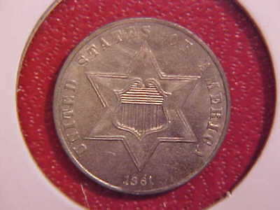 1861 Three Cent Silver - Nice Color - Au+ - See Pics! - (X1624)