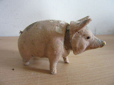 """Antique composition candy container of fat pig figurine 3.5"""""""