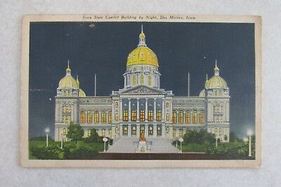 d117 vintage postcard Iowa State Capitol Building by Night Des Moines IA