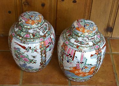 Two Antique hand painted chinese  vase urn bowl signed