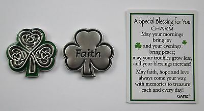 bb Faith Irish shamrock celtic SPECIAL BLESSING FOR YOU Pocket Token Charm ganz