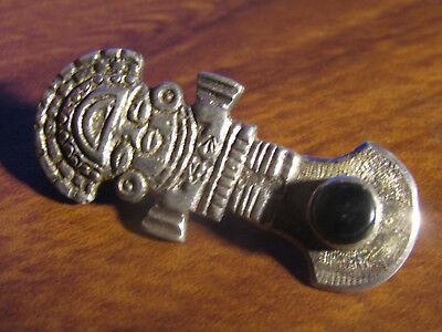 Vintage Sterling Silver Aztec Mayan Pendant OR Brooch Pin Ecuadar Free Shipping