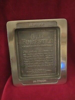 Old Forester Bourbon Solid Brass Advertising Tray Sign Display RARE