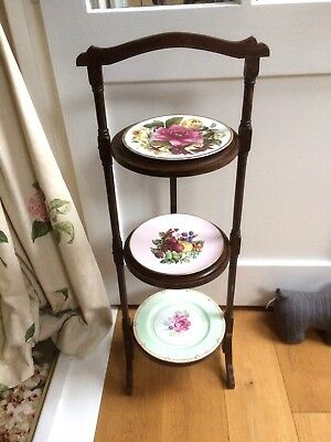Vintage Folding 3 Tier Wooden Cake Stand Original Condition
