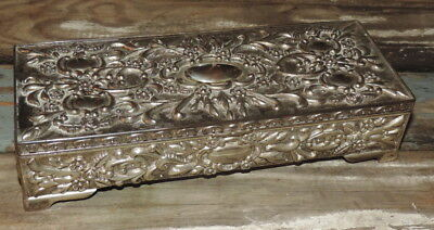Vintage Heavy Ornate Cast Scrolling Embossed Metal Rectangle Hinged Jewelry Box