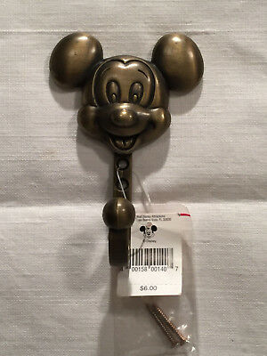 Vintage Disney Mickey Mouse Solid Metal Brass Finish Coat/Hat Wall Hook/Hanger