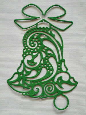 Christmas Bell Paper Die Cuts x 8 Scrapbooking Card Topper Embellishment