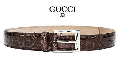 9ce247de388  850 New Gucci Mens Brown Crocodile Belt Palladium Hardware 100   40 Run  Small