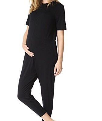 Nwt Hatch Maternity Black The Walkabout Short Sleeves Jumpsuit Sz OS